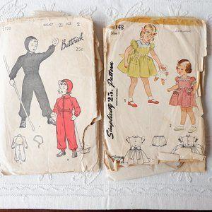 40s Toddler Patterns : Snow Suit & Dress
